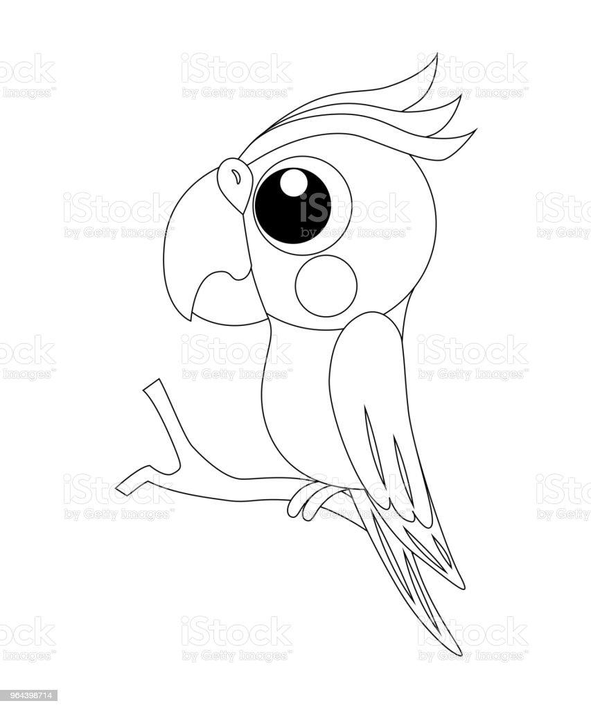 Renksiz Komik Karikatür Papağan Vektör çizim Boyama Stok Vektör