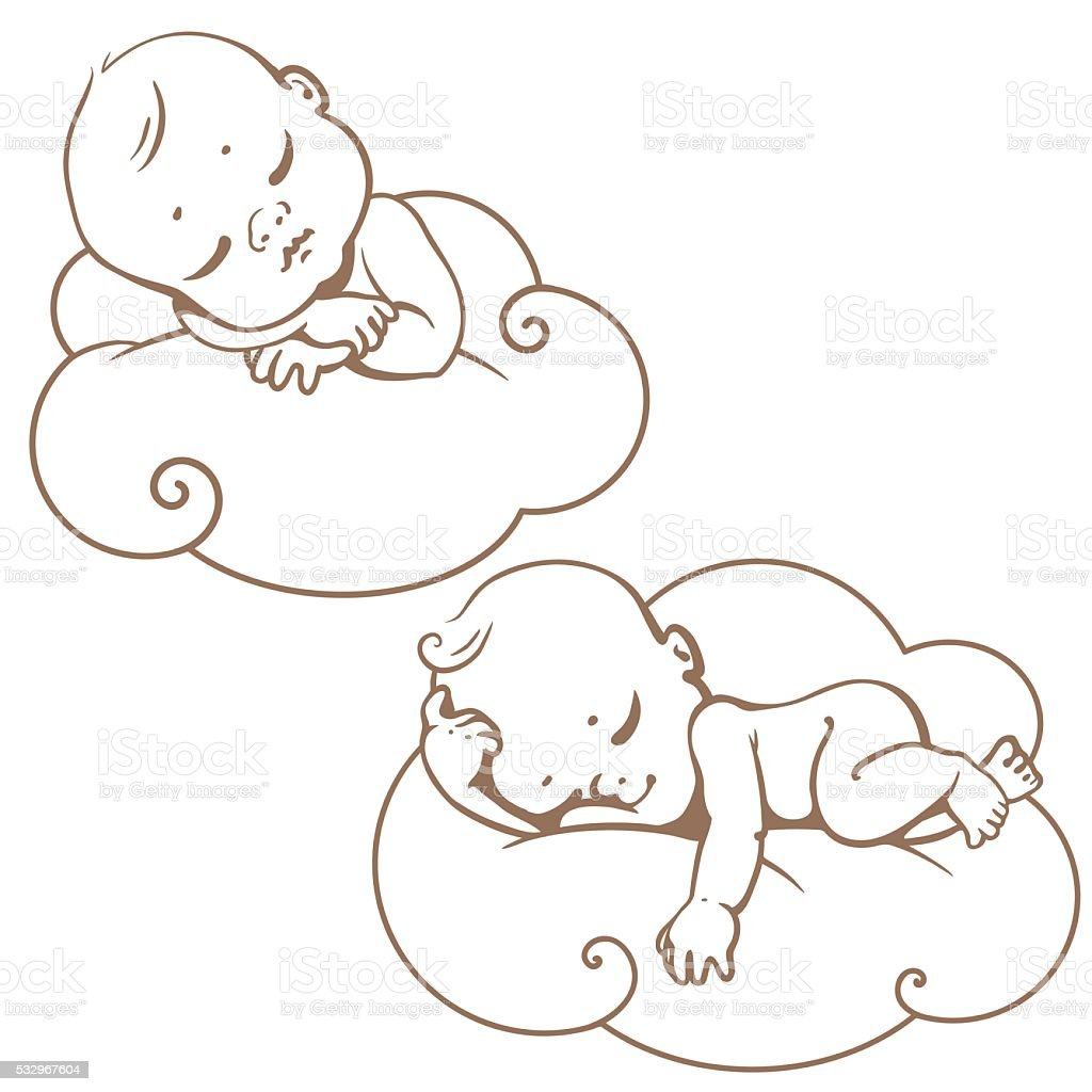 colorong page. Little baby on cloud. Line art vector art illustration