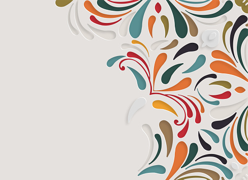colors abstract papercutting style floral pattern flat design background