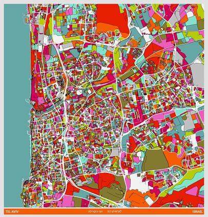 colors art illustration style map,Tel aviv city,Israel