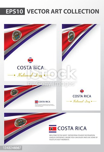 COSTA RICA Colors Background Collection,COSTA RICAN National Flag (Vector Art)