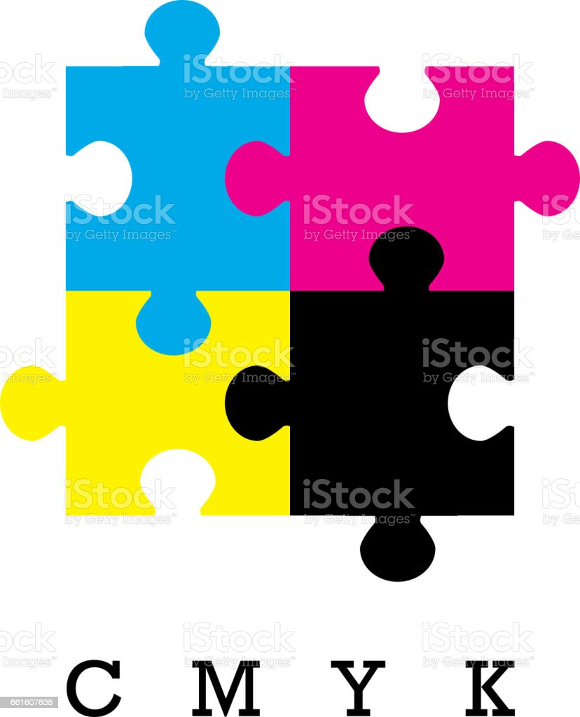 Cmyk colors concept colorful puzzle vector design provider of printer ink and toner