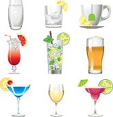 Set of a colors drink icon alcohol beverage vector illustration design elements.File contain EPS10 and large JPEG