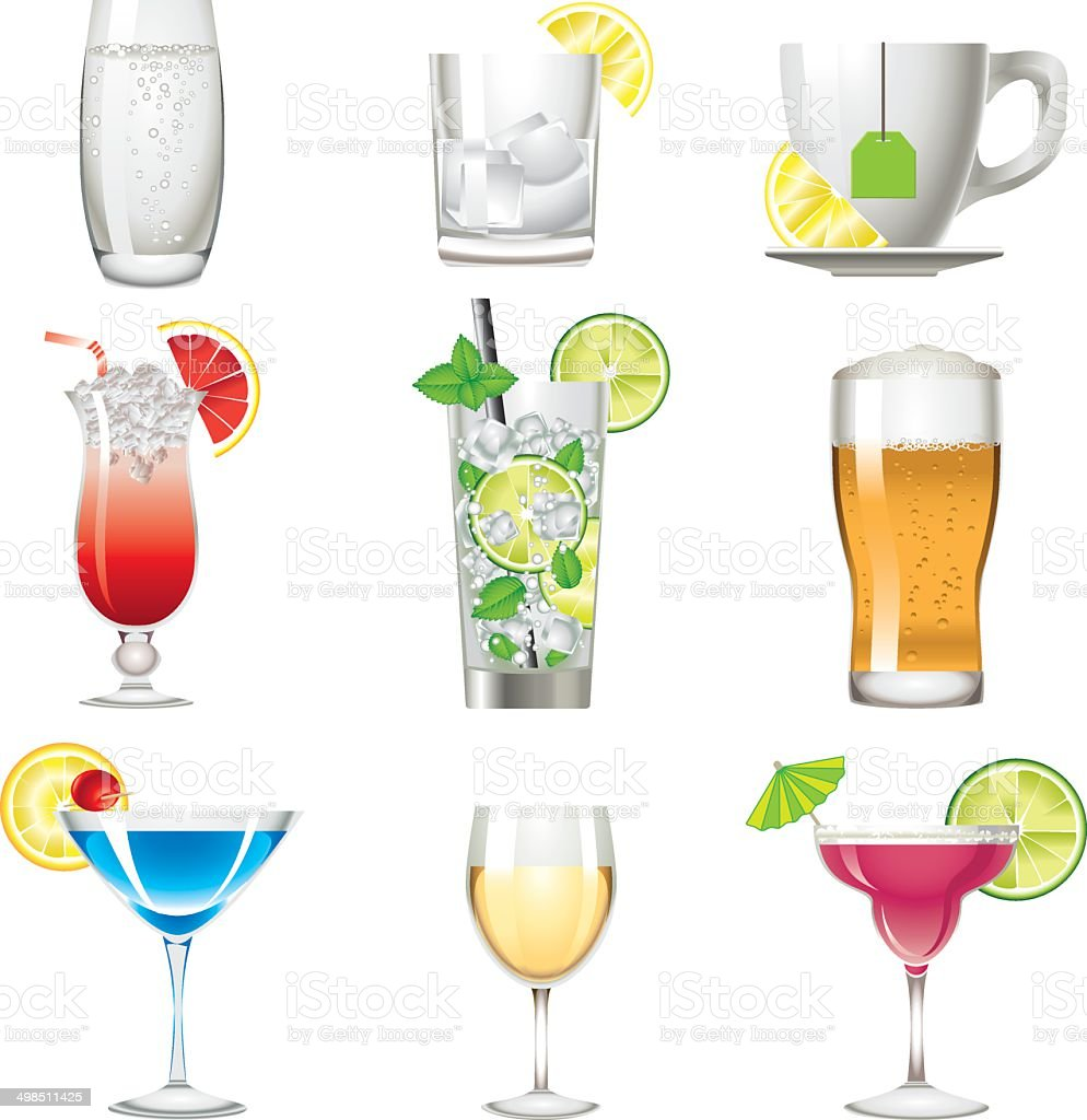 Colors drink icon alcohol beverage vector art illustration