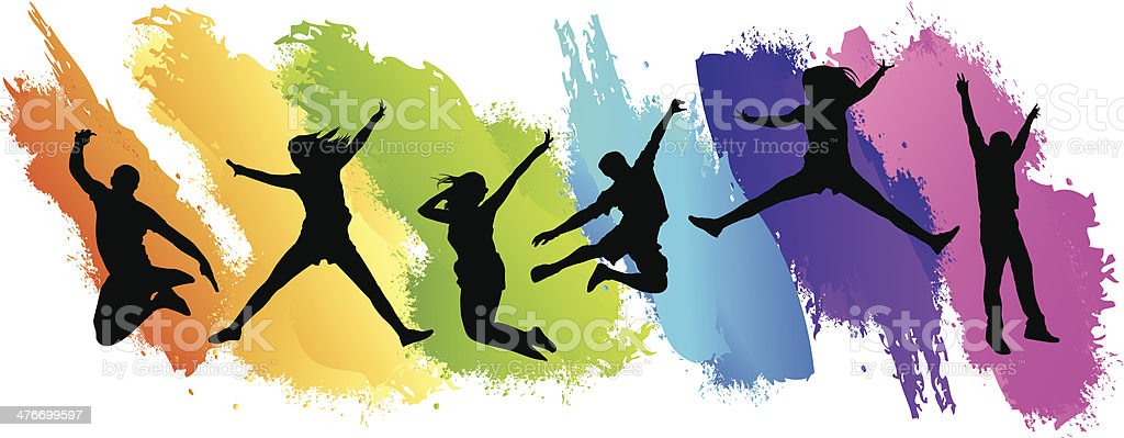 Colors Jumping vector art illustration