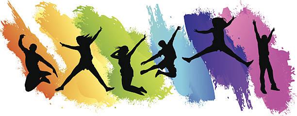 bildbanksillustrationer, clip art samt tecknat material och ikoner med colors jumping - tonåring