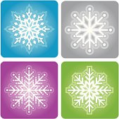 Detailed vector snowflakes on colored backgrounds.