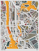 colors papercutting style map poster background,New York city,USA.map data Made with Natural Earth.
