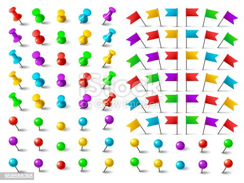 Colors pushpin, navigation pinned flag, and distance thumbtack. Push pins for pushing on map board isolated on white background vector set