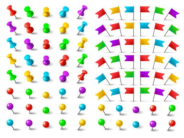 farben-pin, angeheftete fahne und reißzwecke. push-pins für den druck auf karte-board isoliert-vektor-set - heftzwecke stock-grafiken, -clipart, -cartoons und -symbole