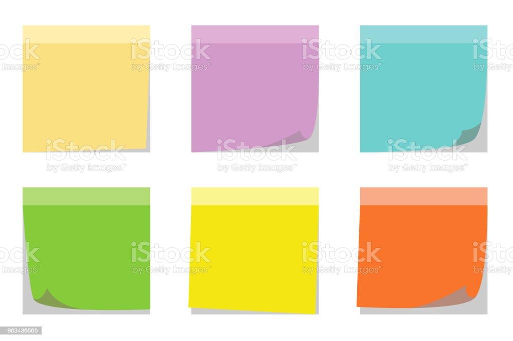 Zestaw kolorów karteczek samoprzylepnych - Grafika wektorowa royalty-free (Bez ludzi)