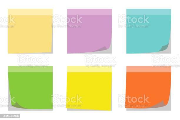 Zestaw Kolorów Karteczek Samoprzylepnych - Stockowe grafiki wektorowe i więcej obrazów Bez ludzi