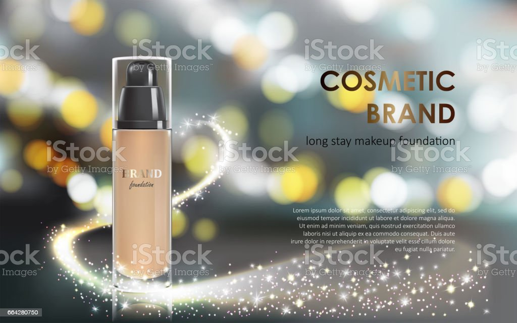 Colorstay make-up in elegant packaging gray background with a bokeh effect and a stream of sparkling dust vector art illustration