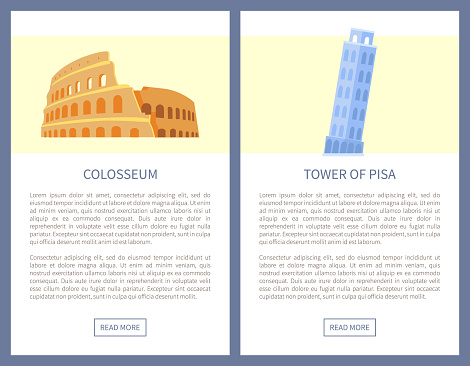Colosseum and Tower of Pisa as Italian Sights