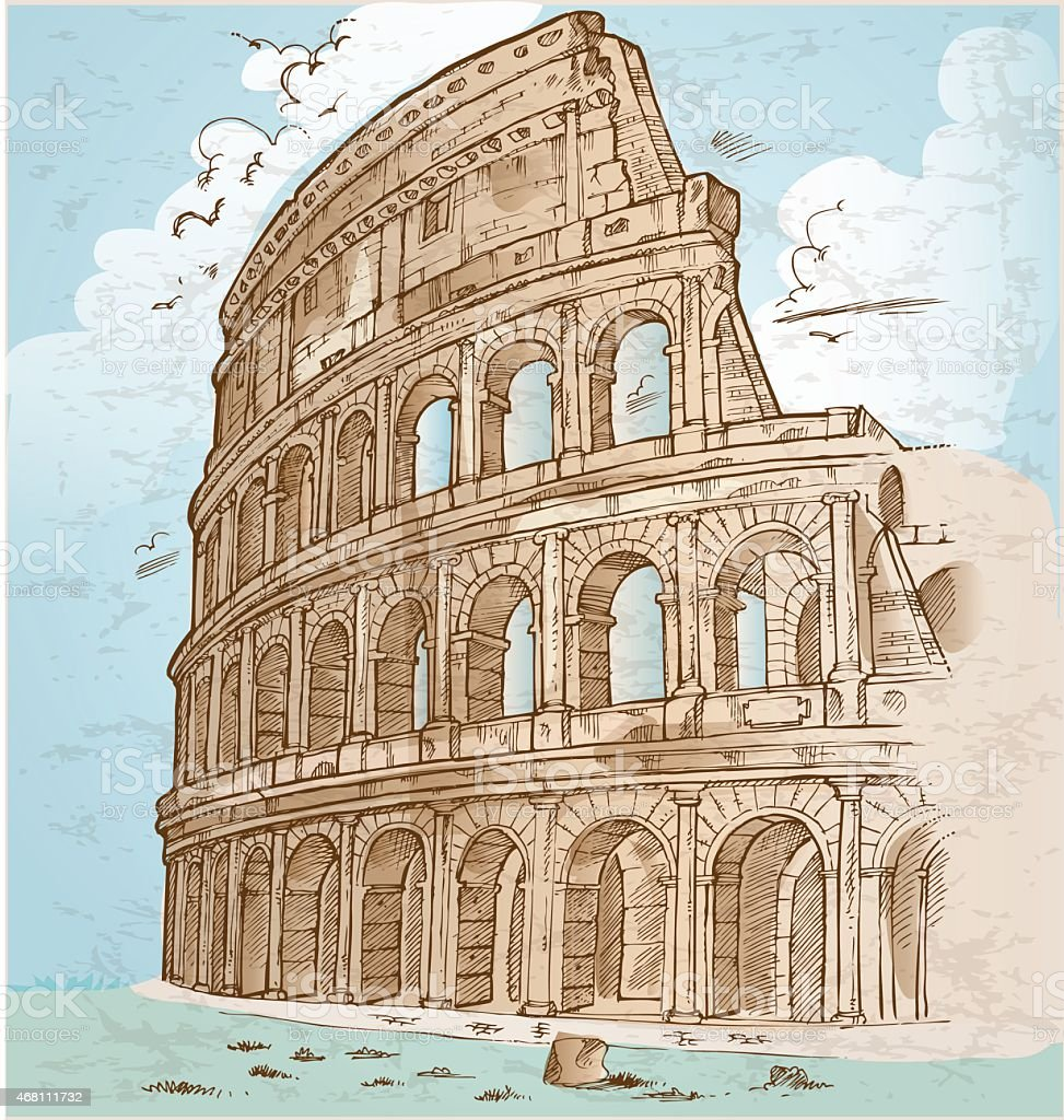colosseum color hand draw vector art illustration