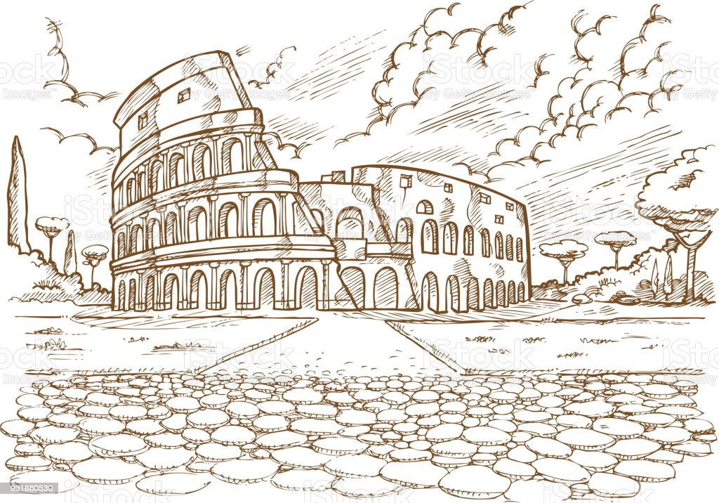 colosseum hand draw vector art illustration