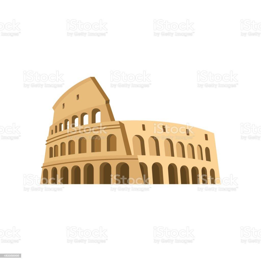 Colosseum in Rome on a white background. Italy Landmark architec vector art illustration