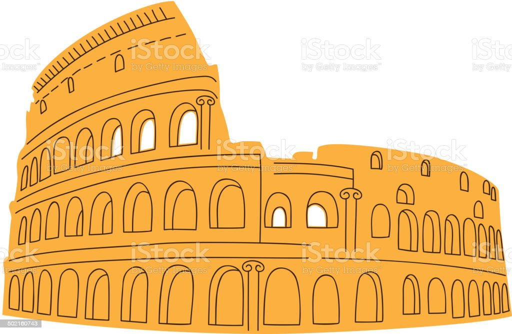 Colosseum isolated on white. vector art illustration