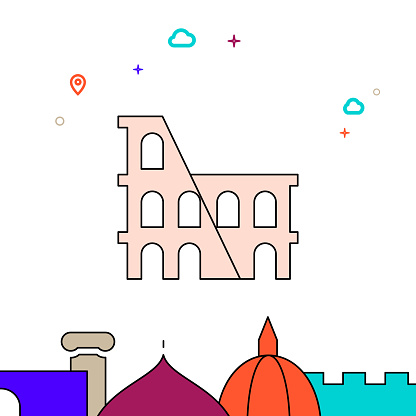 Colosseum, Rome filled line icon, simple illustration