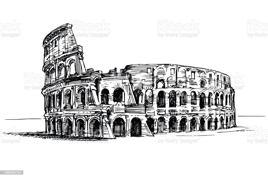Ilustración De Coliseo Roma Italia Ilustración De Dibujado A Mano Y