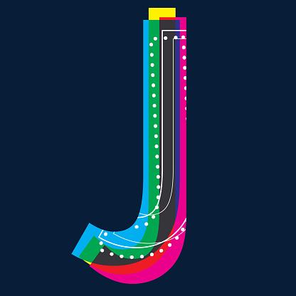 CMYK colour Alphabets POP Retro Fashionable style