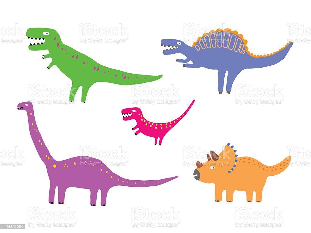 Ilustración de Color Vector De Dinosaurios y más banco de imágenes ...