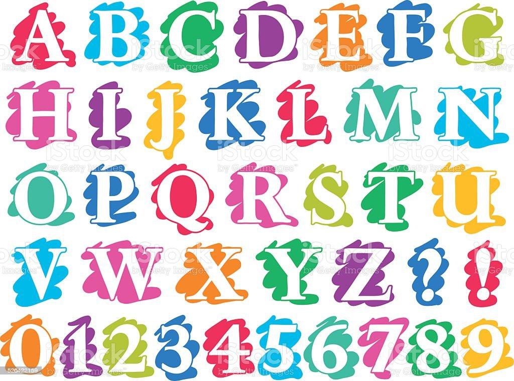 Colour doodle splash alphabet letters and digits stock vector art colour doodle splash alphabet letters and digits royalty free colour doodle splash alphabet letters and altavistaventures Gallery