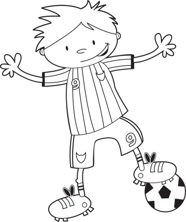 Colour Him In Soccer Boy Template
