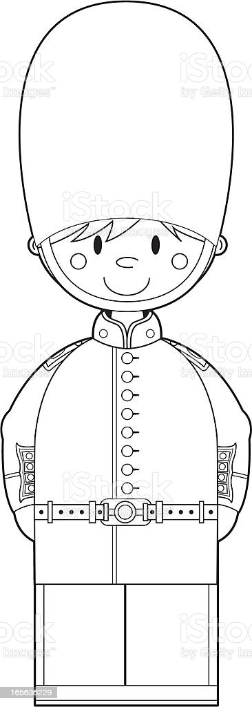 Colour In British Royal Guard royalty-free stock vector art