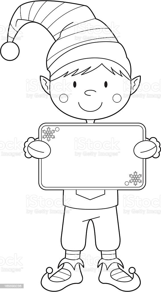 Colour In Christmas Elf With Banner Stock Vector Art