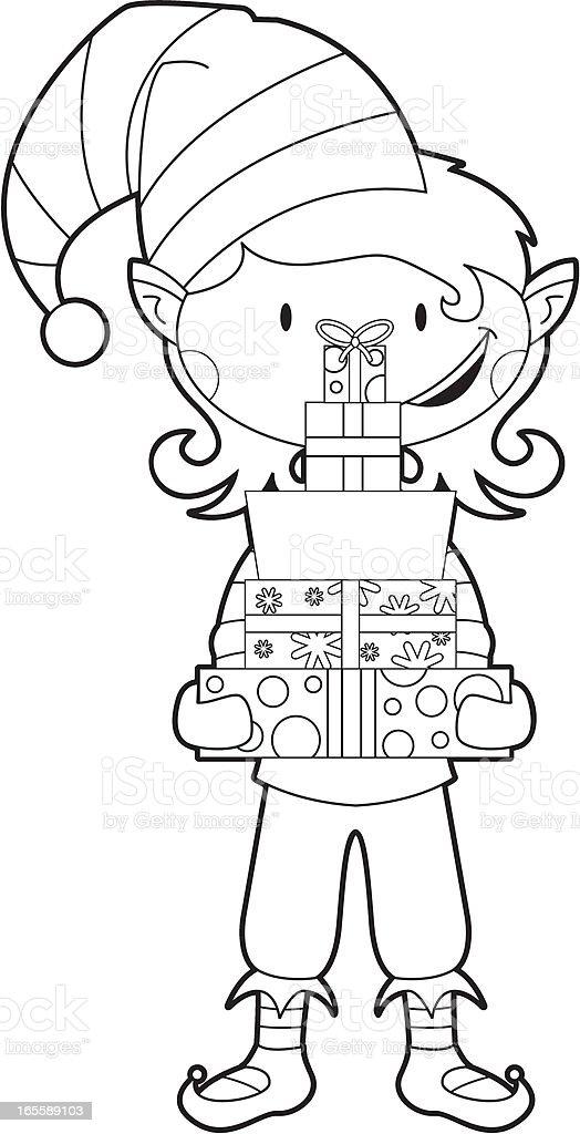 Color De Navidad Con Regalos De Elf - Arte vectorial de stock y más ...