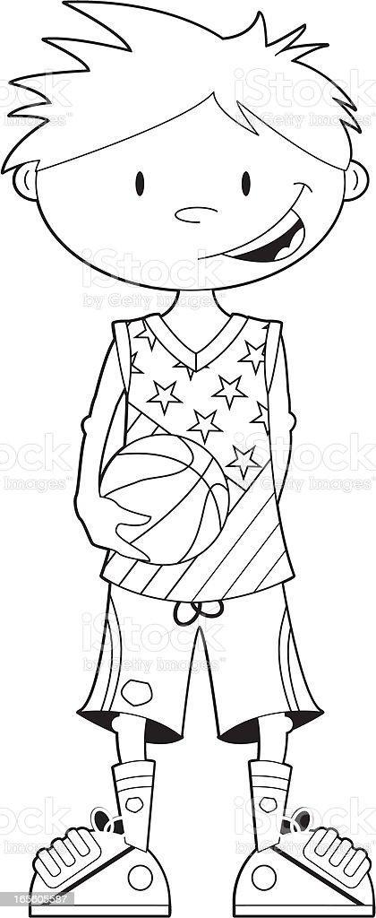 Colour In Cute Basketball Player royalty-free colour in cute basketball player stock vector art & more images of adult