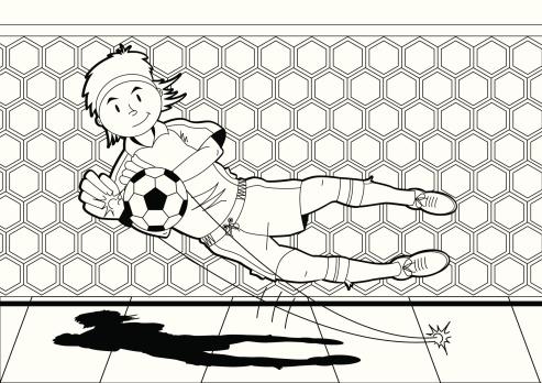 Colour In Diving Soccer Goalkeeper