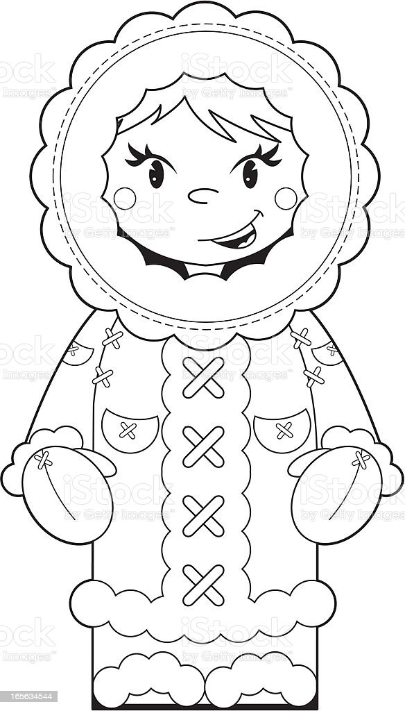 Colour In Eskimo Character Stock Vector Art & More Images of Black ...