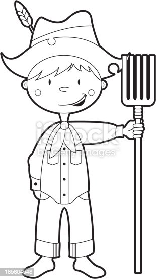 Colour In Farm Boy Character Stock Vector Art & More