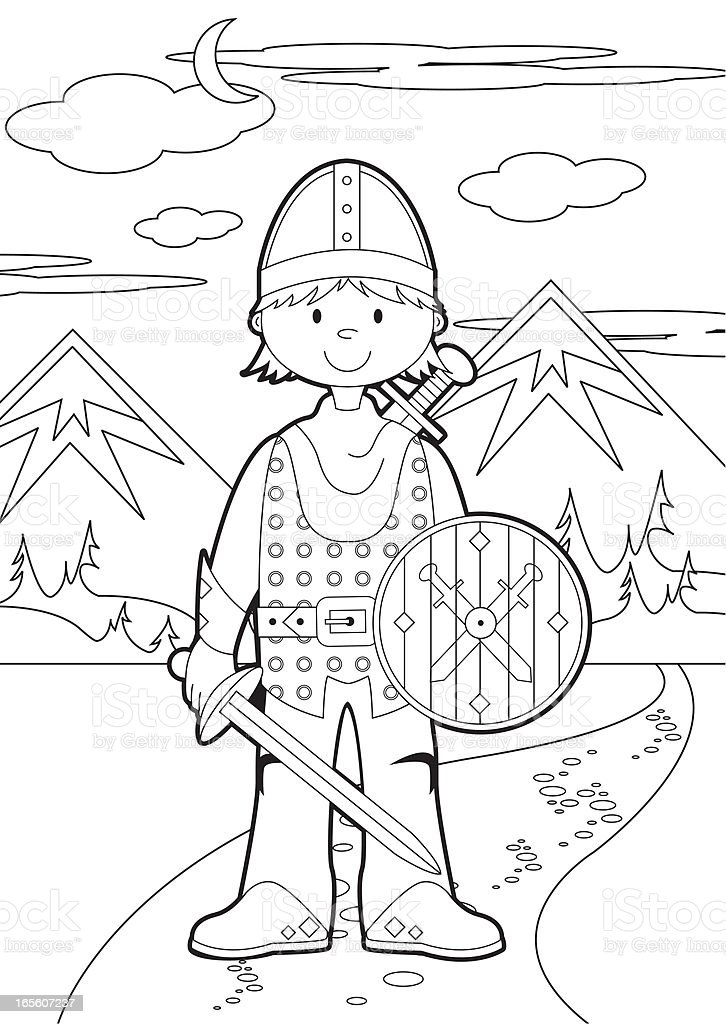 Colour In Knight Scene royalty-free colour in knight scene stock vector art & more images of adult