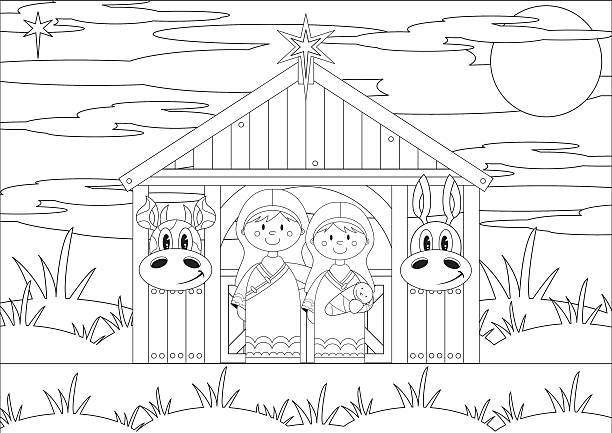 colour in mary and joseph at nativity barn - clip art of a black and white barn stock illustrations, clip art, cartoons, & icons