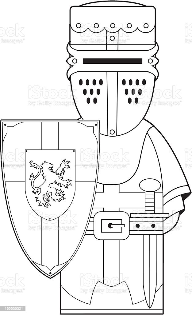 Colour In Medieval Crusader Knight vector art illustration