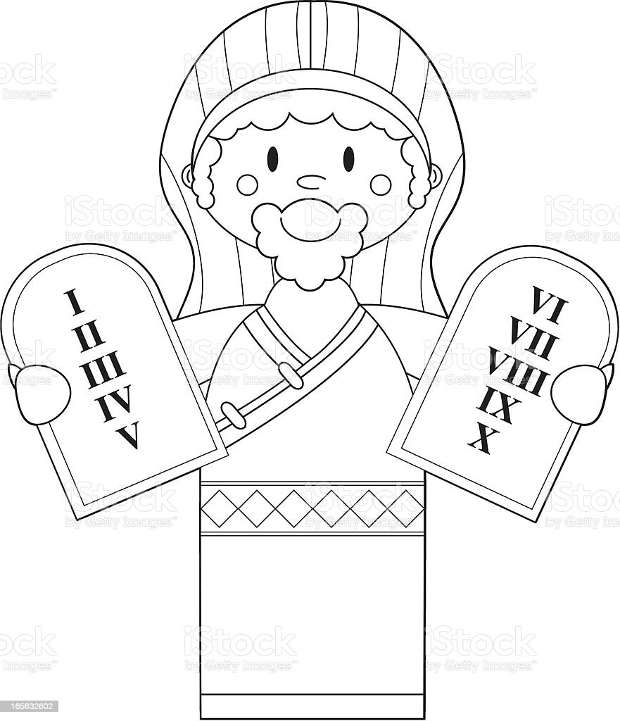colour in moses with the ten commandments stock vector art