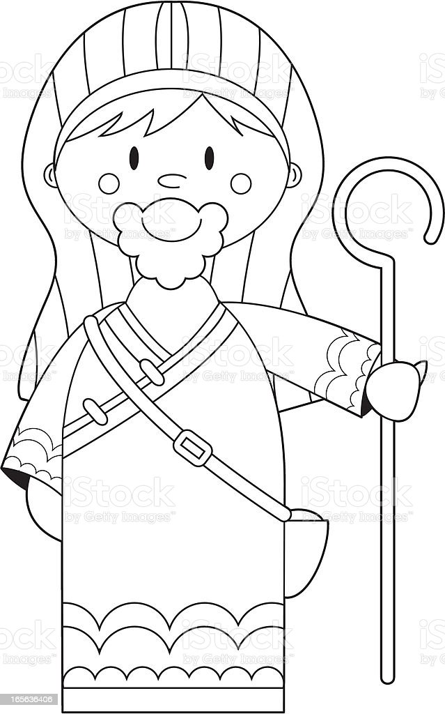 Colour In Nativity Shepherd with Crook vector art illustration
