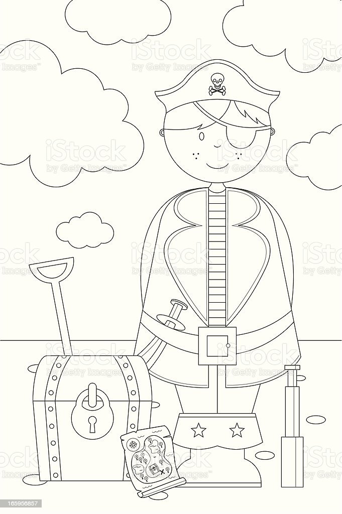 Color de pirata Boy carácter icono & escena - ilustración de arte vectorial