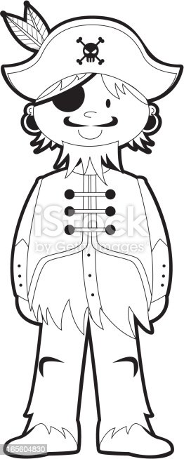 Colour In Pirate Captain Template Stock Vector Art & More