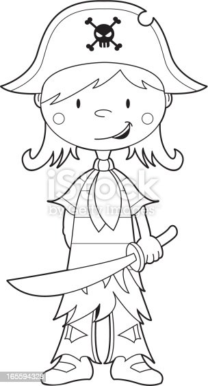 colour in pirate girl template stock vector art  u0026 more