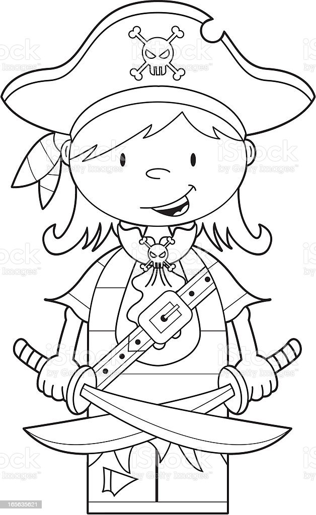 Colour In Pirate Girl With Swords Stock Vector Art & More Images ...