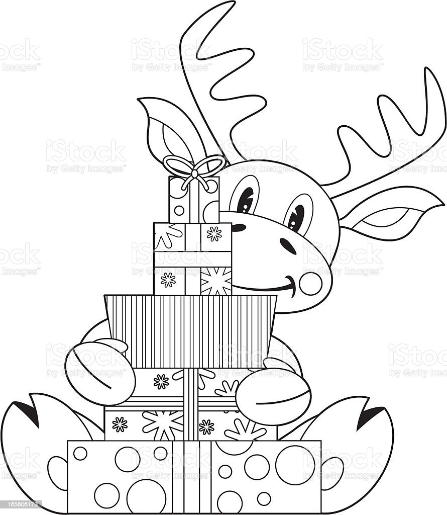 colour in reindeer holding gifts stock illustration