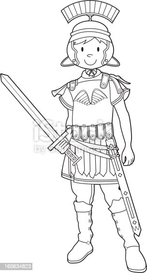colour in roman soldier with sword stock vector art  more