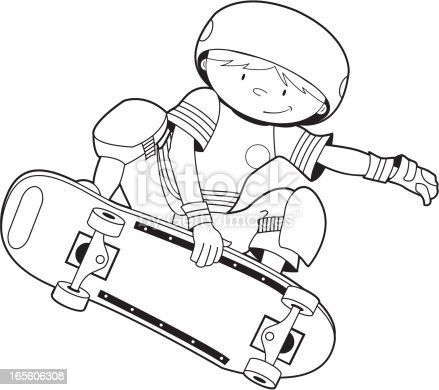 Colour In Skateboarder