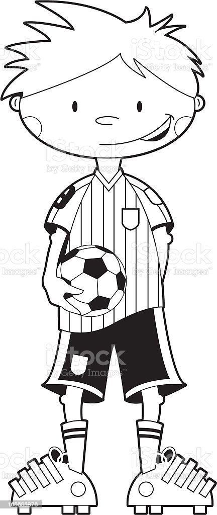 colour in soccer boy with ball royalty free stock vector art