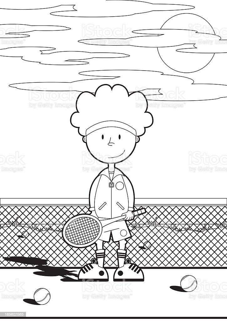Niño En Color En La Cancha De Tenis - Arte vectorial de stock y más ...