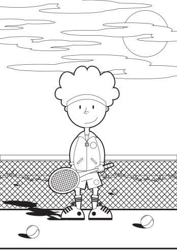 Colour In Tennis Boy on Court